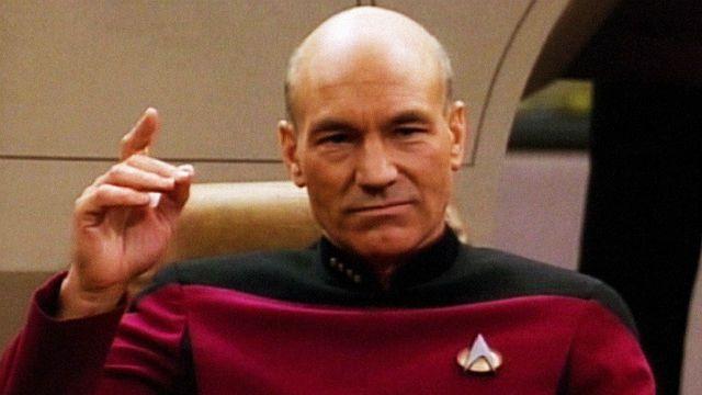 Patrick Stewart como Capitão Picard em Star Trek.