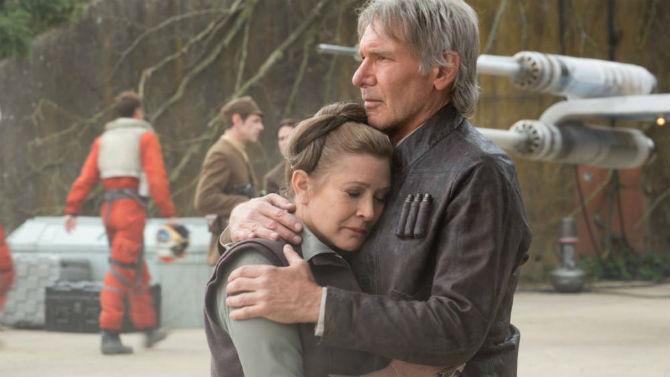 Leia e Han em Star Wars: O Despertar da Força