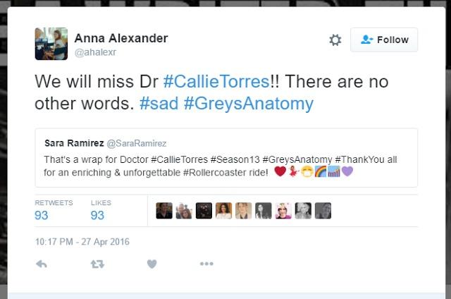 tuite anna alexander - ¿Va Sara Ramírez a abandonar 'Anatomía de Grey'?