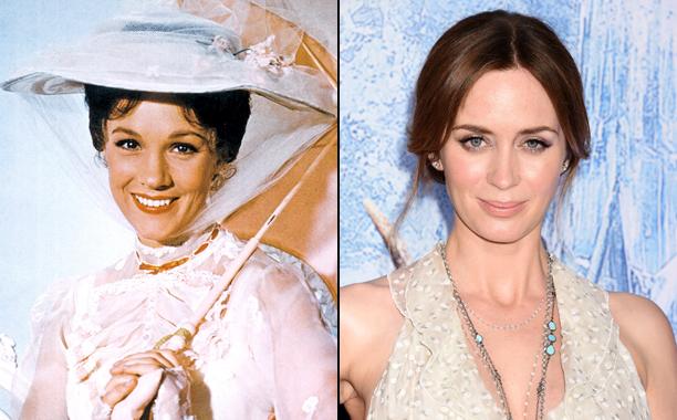 Julie Andrews à esquerda e Emily Blunt à direita como Mary Poppins.