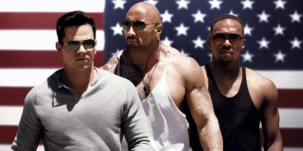 Mark Wahlberg, Dwayne Johnson e Anthony Mackie em Sem Dor, Sem Ganho (2013)