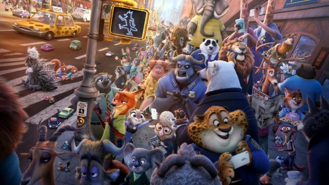 A multidão de personagens de Zootopia