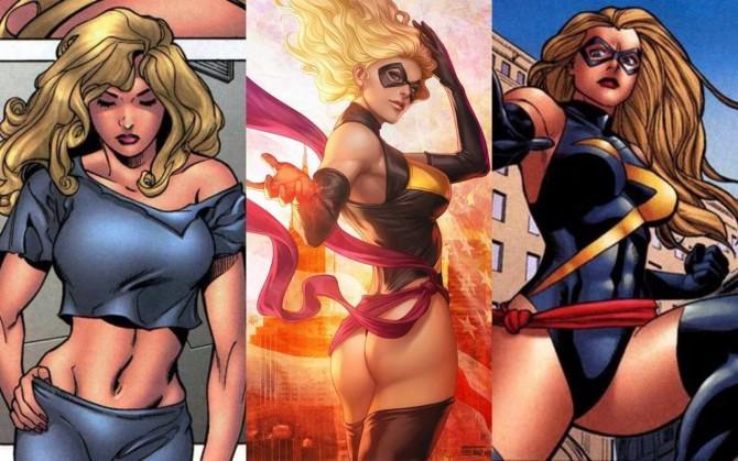 Carol Danvers (Miss Marvel) em três quadros de sua revista-solo