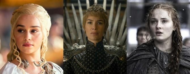 Daenerys Targaryen (Emilia Clarke), Cersei Lannister (Lena Headey) e Sansa Stark (Sophie Turner)