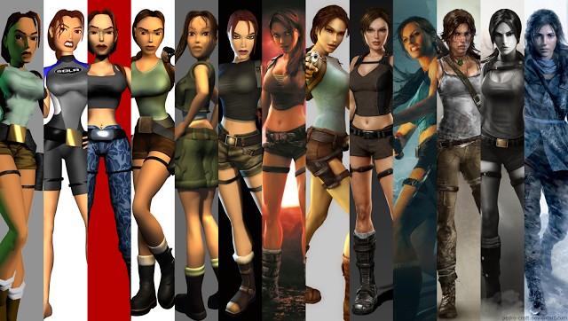 Lara Croft, a Tomb Raider, através de anos de jogos