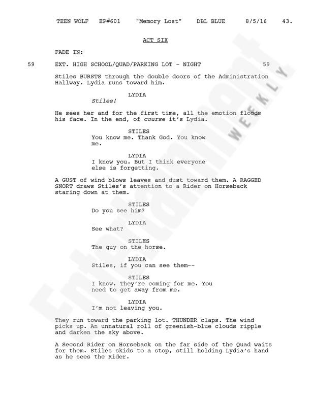 Página do roteiro de Teen Wolf, 6ª temporada