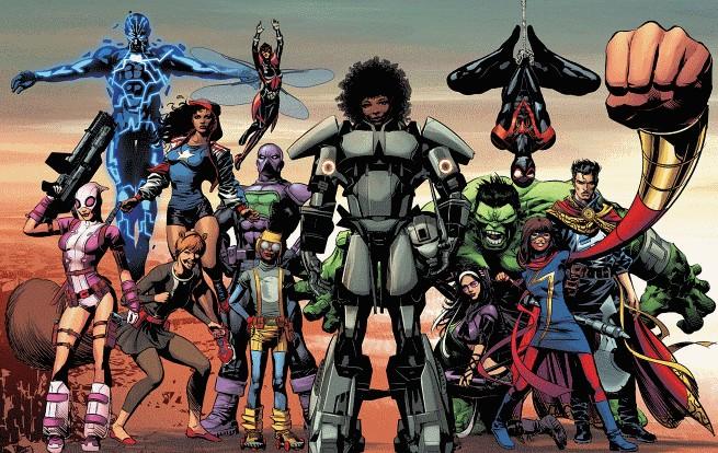 Riri Williams (no centro), a nova Homem de Ferro