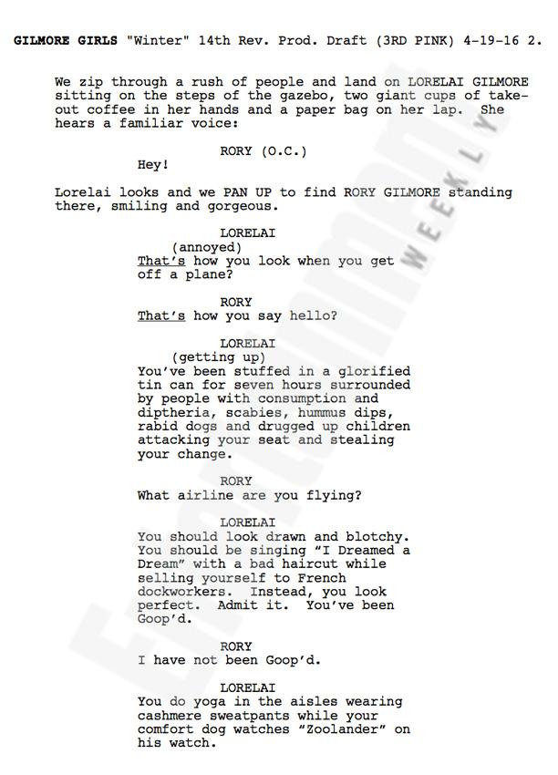 Primeira página do roteiro de Gilmore Girls: Um Ano Para Recordar