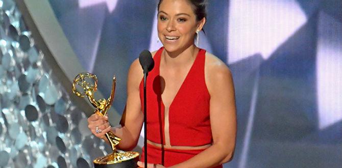 Tatiana Maslany recebendo seu primeiro Emmy por Orphan Black.