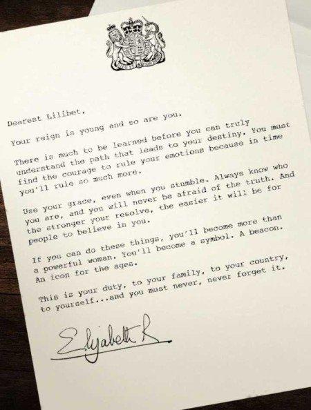 Carta da Rainha Elizabeth para si mesma quando jovem