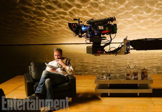 O diretor Denis Villeneuve no set de Blade Runner 2049.