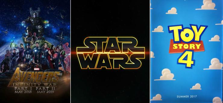 Vingadores: Guerra Infinita - Parte 2, Star Wars: Episódio IX e Toy Story 4