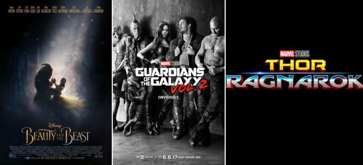 A Bela e A Fera, Guardiões da Galáxia Vol.2 e Thor: Ragnarok