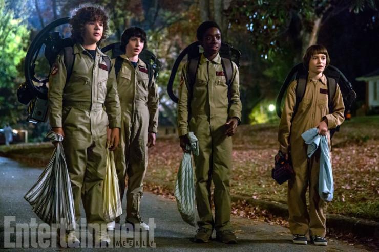 Stranger Things (2017) Season 2, Episode TK Left to right, Gaten Matarazzo as Dustin Henderson, Finn Wolfhard as Mike Wheeler, Caleb McLaughlin as Lucas Sinclair, Noah Schnapp as Will Byers