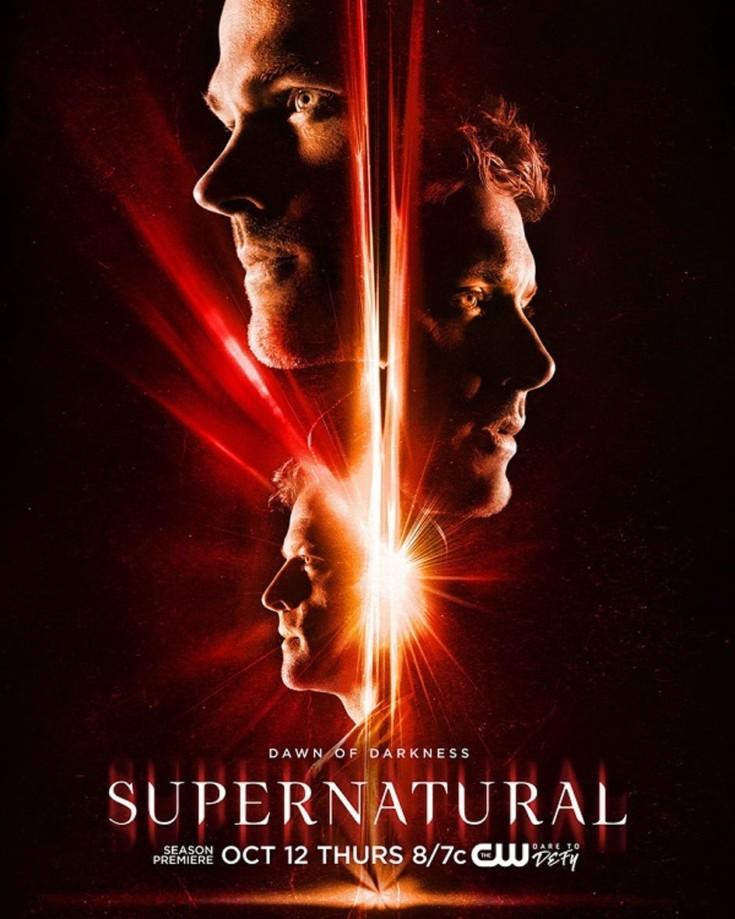 Castiel e irmãos Winchester no cartaz da 13ª temporada de 'Supernatural'