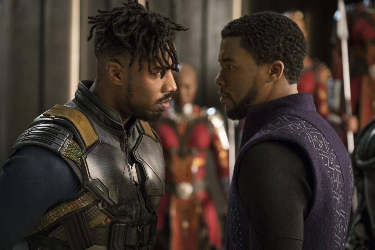 Michael B. Jordan e Chadwick Boseman em Pantera Negra.