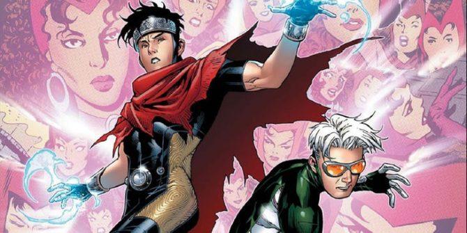 Wiccan e Speed, filhos do casal criados pelos poderes de alteração de realidade da Feiticeira.