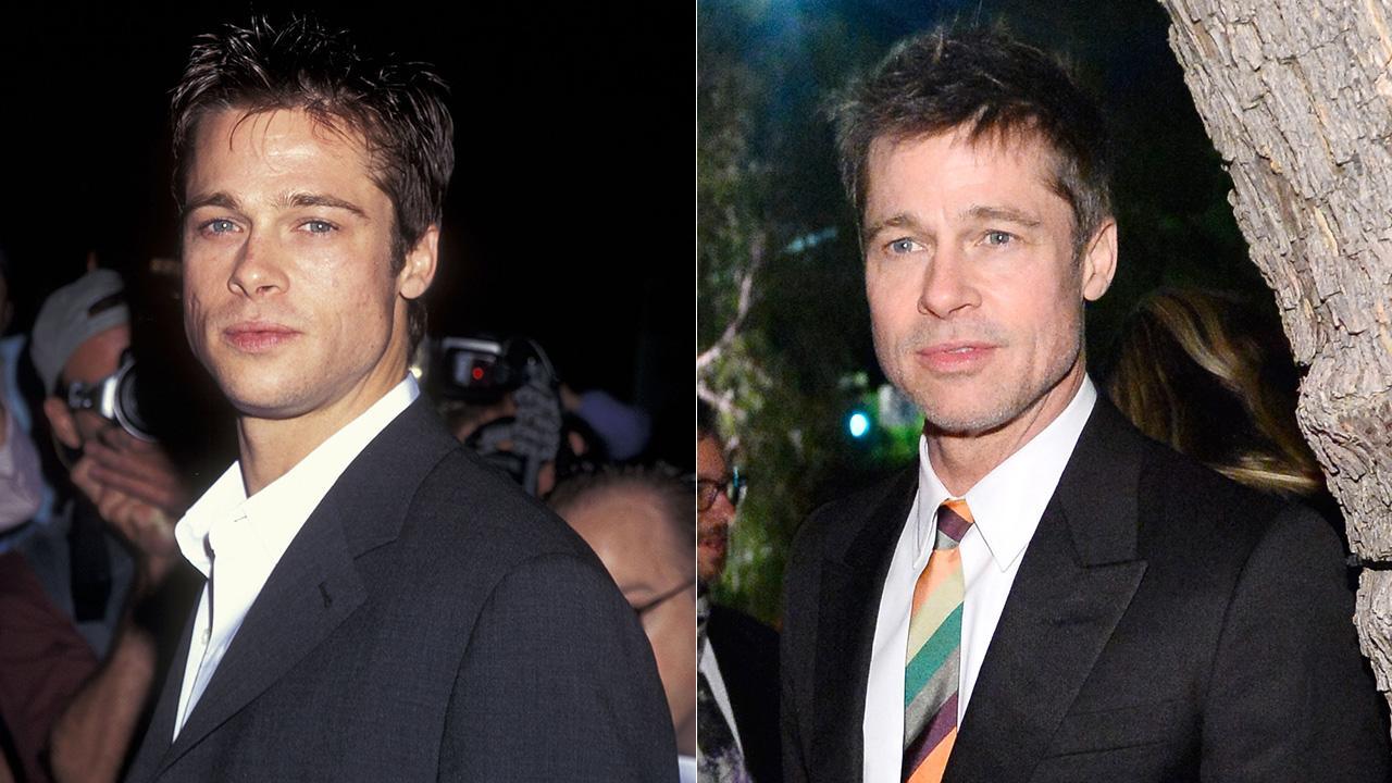 Brad Pitt nos anos 1990 (esquerda) e hoje em dia