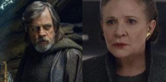 Mark Hamill como Luke e Carrie Fisher como Leia em Os Últimos Jedi.