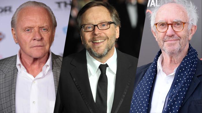 O trio da nova série da Netflix: Anthony Hopkins, Fernando Meirelles e Jonathan Pryce