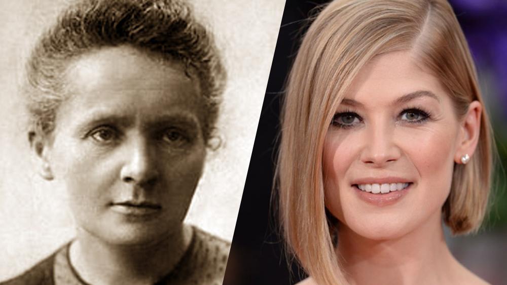 Filme sobre Marie Currie com Rosamund Pike.