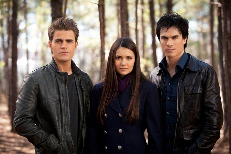 Damon Stefan and Elena in The Vampire Diaries 1
